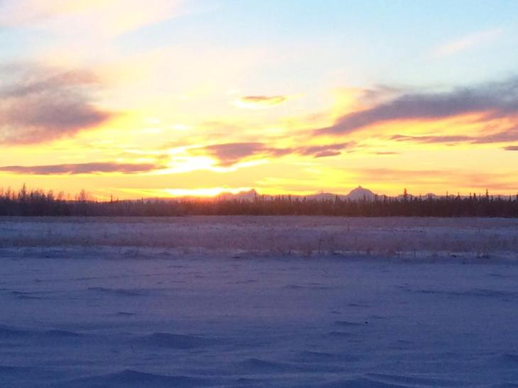 Sunrise in North Pole, 11:15 a.m. on Dec. 21st 2014